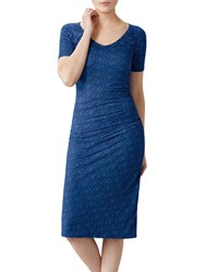 Pure Collection Abstract Spot Jersey Bardot Dress Blue