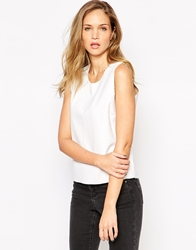Vila Sleeveless Pu Top Snowwhite