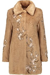 Ainea Embroidered Faux Fur Coat Sand