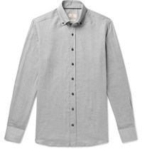 Hackett Slim Fit Button Down Collar Herringbone Cotton Flannel Shirt Gray