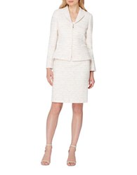 Tahari By Arthur S. Levine Petite Two Piece Patterned Jacket And Skirt Set Ivory