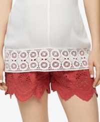A Pea In The Pod Lace Maternity Shorts Sunwashed Red