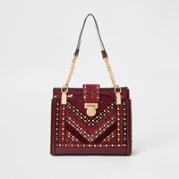 River Island Red Studded Tote Bag