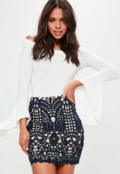 Missguided Navy Crochet Lace Lined Mini Skirt