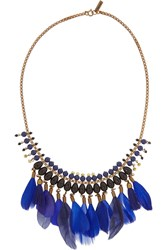 Isabel Marant Gold Tone Feather Necklace Blue