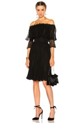 Alexander Mcqueen Off The Shoulder Puff Sleeve Dress In Black