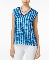 Bar Iii Printed Cap Sleeve Top Only At Macy's Midnite Kiss Combo