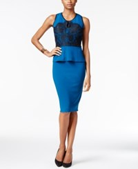 Thalia Sodi Faux Leather Trim Peplum Sheath Dress Only At Macy's Nocturnal