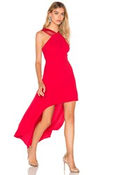 Halston Strappy Halter Hi Lo Dress Red