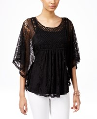 Styleandco. Style And Co. Lace Poncho Sleeve Top Only At Macy's Deep Black