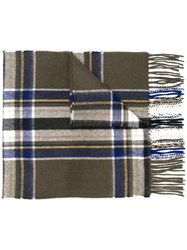 Begg And Co Check Pattern Scarf Green
