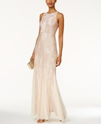 Adrianna Papell Beaded Halter Gown Cream