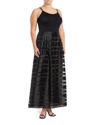 Alex Evenings Plus Mesh Striped Maxi Skirt Black