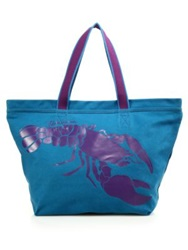 Vilebrequin Oversized Canvas Lobster Tote Blue Purple