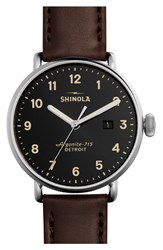 Shinola 'The Canfield' Leather Strap Watch 43Mm