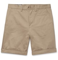 Gucci Appliqued Cotton Twill Shorts Brown