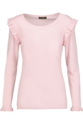 N.Peal Cashmere Ruffled Cashmere Sweater Pastel Pink