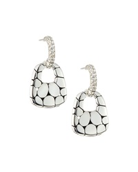 John Hardy Kali Silver Lava Drop Earrings W White Topaz