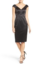 Vince Camuto Women's Deep V Neck Stretch Satin Sheath Dress