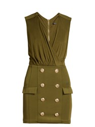 Balmain V Neck Button Embellished Jersey Dress Khaki