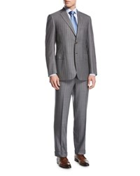 Brioni Striped Super 160S Wool Two Piece Suit Gray
