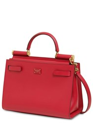 Dolce And Gabbana Sicily 62 Small Leather Top Handle Bag Rosso Papavero