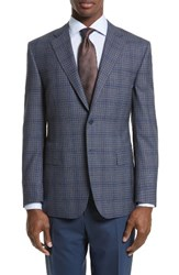 Canali Men's Big And Tall Classic Fit Check Wool Sport Coat Brown