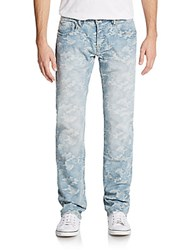 Cult Of Individuality Rebel Straight Leg Faded Camo Jeans Blue