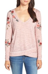 Billy T Embroidered Long Sleeve Top Blush E Embroidery