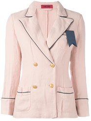The Gigi Contrast Trim Double Breasted Blazer Pink Purple