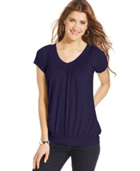 Jm Collection Ruched Banded Hem Top Purple Ink