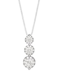 Macy's Prestige Unity Diamond Three Stone Drop Pendant Necklace In 14K White Gold 3 4 Ct. T.W.