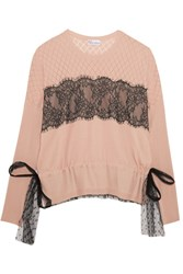 Red Valentino Redvalentino Point D'esprit And Lace Paneled Cotton Sweater Blush