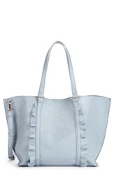 Sole Society Ruffled Faux Leather Tote Blue Powder Blue