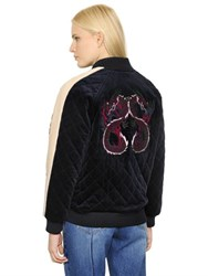 Steve J And Yoni P Dragons Quilted Velvet Bomber Jacket