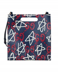 Guccighost Small Leather Tote Bag Blue Red Blue Red