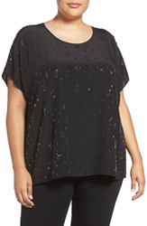 Eileen Fisher Plus Size Women's Falling Star Beaded Silk Scoop Neck Tee