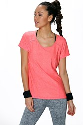 Boohoo Fit Breathable Shaped Sports Tshirt Coral