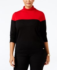 Calvin Klein Plus Size Colorblocked Turtleneck Sweater Red Black
