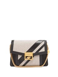 Givenchy Gv3 Small Canvas And Leather Cross Body Bag Black White