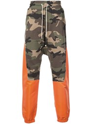 Mostly Heard Rarely Seen Colour Block Camouflage Track Pants Green