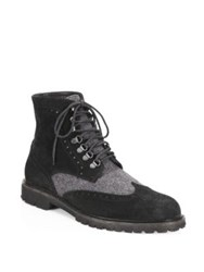Saks Fifth Avenue Collection Wingtip Suede Combat Boots Black