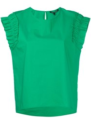 Luisa Cerano Ruched Sleeves T Shirt Women Cotton 36 Green