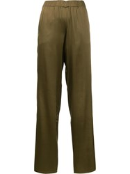 P.A.R.O.S.H. Elasticated Waistband Flared Trousers Green
