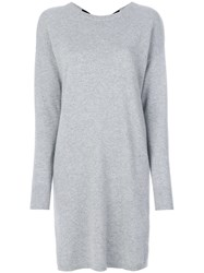 Chinti And Parker Bow Sweater Dress Cashmere Wool M Grey