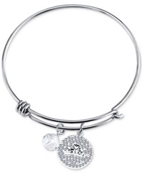 Disney Tiara Crystal Charm Bracelet In Stainless Steel
