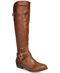 Material Girl Capri Wide Calf Riding Boots Only At Macy's Women's Shoes Cognac