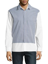 Plac Stripe Accented Cotton Button Down Shirt White