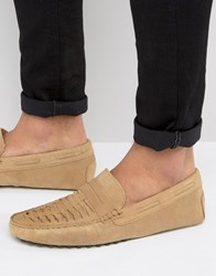 Asos Drivers In Stone Suede With Woven Detail Stone