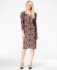Jm Collection Split Neck Sheath Dress Only At Macy's Paper Stamp